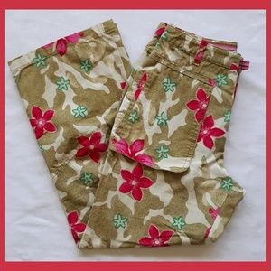 Oilily Colorful Tropical Cropped Cargo Pants